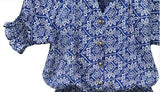 ByChicStyle Casual Blue Floral Pleated Buttons Short Sleeve Elastic Waist Mini Dress