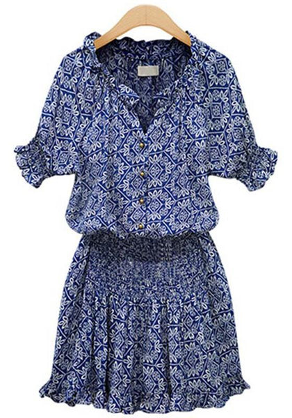 Casual Blue Floral Pleated Buttons Short Sleeve Elastic Waist Mini Dress