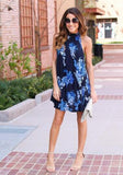 ByChicStyle Casual Blue Floral Cut Out High Neck Fashion Mini Dress