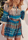ByChicStyle Casual Blue Floral Hollow-out Lace-Up Flare Sleeve Fashion Mini Dress