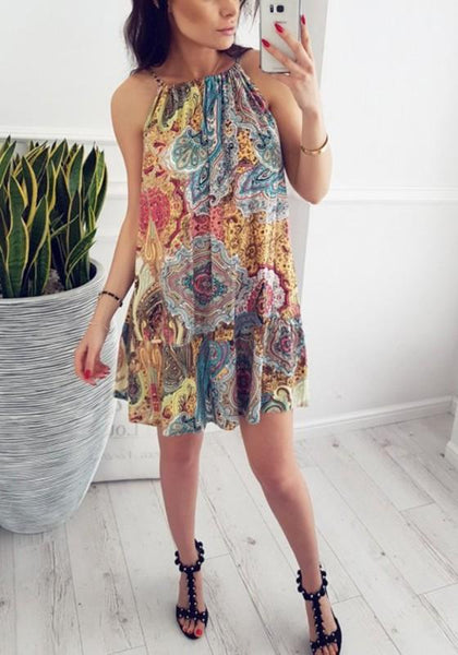 Casual Blue Floral Round Neck Sleeveless Bohemian Loose Mini Dress