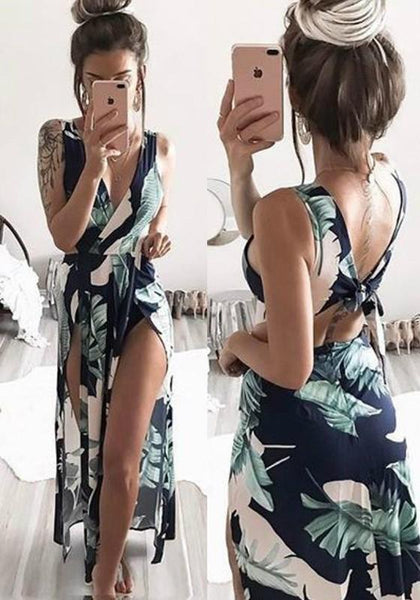 Casual Blue Floral Tie Back Polyester Maxi Dress