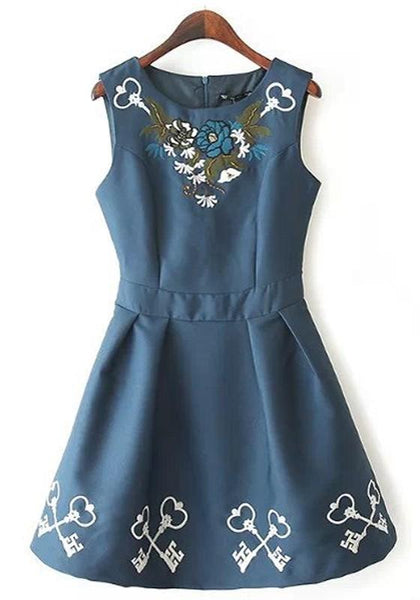 Casual Blue Flowers Embroidery Beading Round Neck Sleeveless Dress