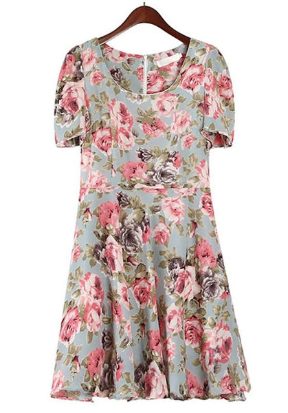 Casual Blue Flowers Print Puff Sleeve Chiffon Dress