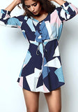 ByChicStyle Casual Blue Geometric Print Drawstring Single Breasted 3/4 Sleeve Casual Mini Dress