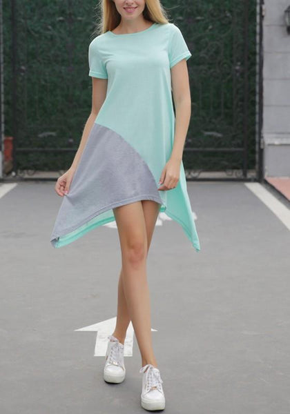 Casual Blue-Grey Patchwork Irregular Round Neck Casual Mini Dress