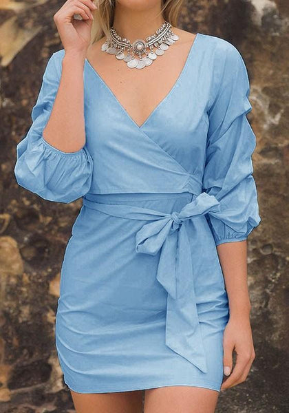 Casual Blue Irregular Bow Elbow Sleeve Fashion Mini Dress