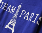 ByChicStyle Casual Blue Letter Eiffel Tower Print Pullover