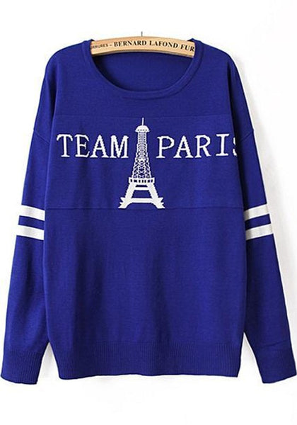 Casual Blue Letter Eiffel Tower Print Pullover