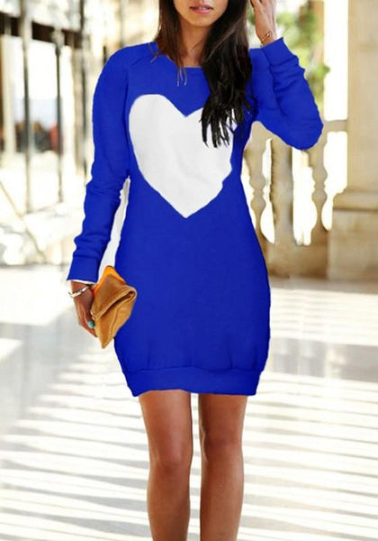 Casual Blue Love Print Round Neck Long Sleeve Mini Dress