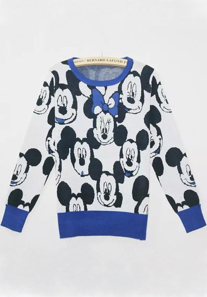 Casual Blue Mickey Print Pullover