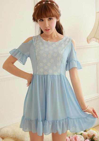 Casual Blue Patchwork Falbala Lace Chiffon Dress