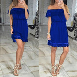ByChicStyle Casual Blue Patchwork Hollow-out Lace Boat Neck Short Sleeve Mini Dress