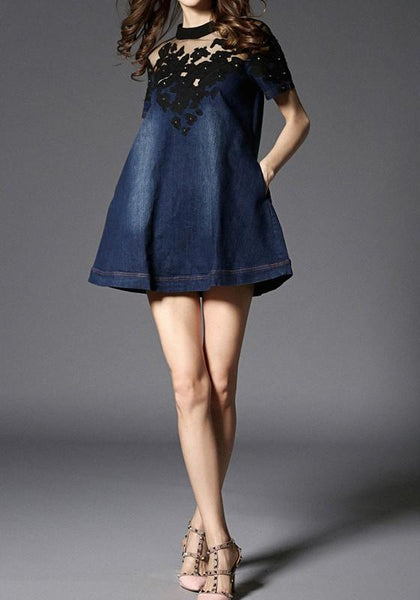 Casual Blue Patchwork Hollow-out Lace Buttons Round Neck Fashion Mini Dress