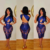 ByChicStyle Blue Lace Backless Club One-shoulder See-Through Cut-out Asymmetrical Bodycon Mini Dress