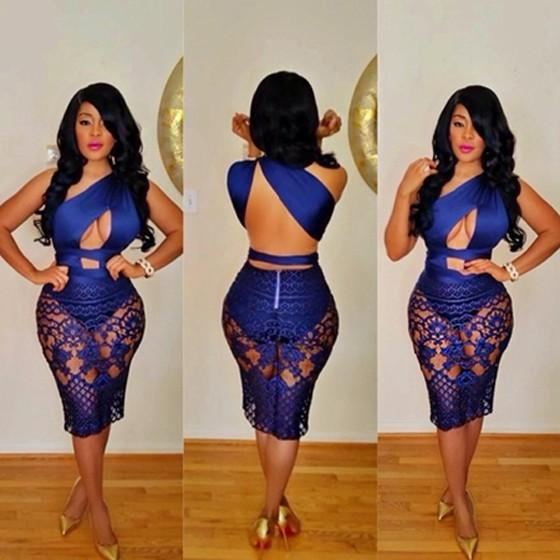 Blue Lace Backless Club One-shoulder See-Through Cut-out Asymmetrical Bodycon Mini Dress