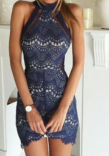 Casual Blue Patchwork Lace Grenadine zipper Hollow-Out Halter Neck Bodycon Mini Dress