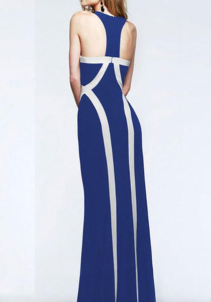 Casual Blue Patchwork Round Neck Floor Length Party Maxi Dress