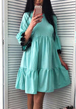 ByChicStyle Casual Blue Patchwork Ruffle Appliques Round Neck Fashion Mini Dress