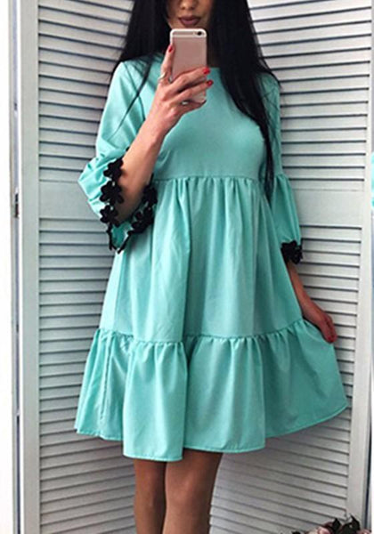 Casual Blue Patchwork Ruffle Appliques Round Neck Fashion Mini Dress