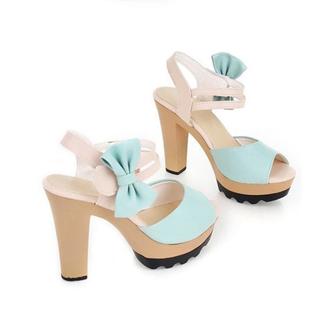 Streetstyle  Casual Blue Piscine Mouth Stiletto Bow Sweet Sandals
