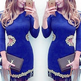 ByChicStyle Casual Blue Plain Cut Out Appliques Mini Dress