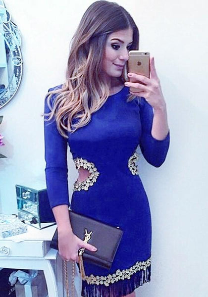 Casual Blue Plain Cut Out Appliques Mini Dress