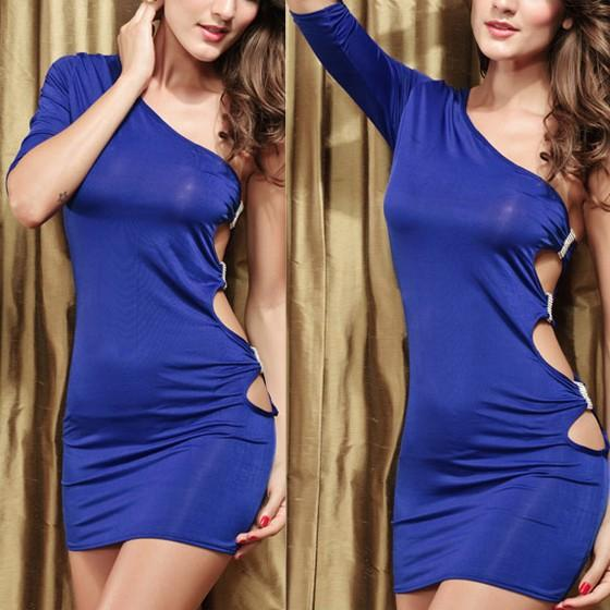 Casual Blue Plain Cut Out Crop Diamond Elbow Sleeve Mini Dress