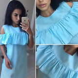 ByChicStyle Casual Blue Plain Cut Out Ruffle Short Sleeve Casual Mini Dress