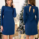 ByChicStyle Casual Blue Plain Cut Out Tie Back Round Neck Mini Dress