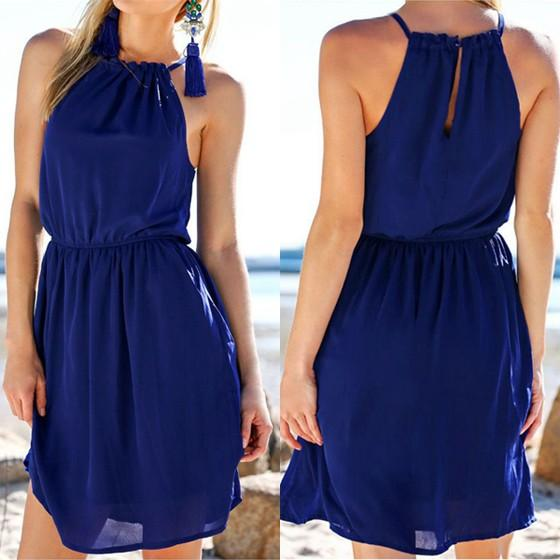 Casual Blue Plain Draped Condole Belt Cut Out Sleeveless Mini Dress