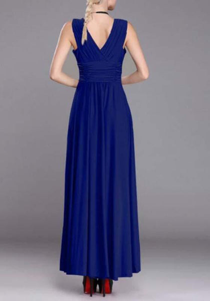 Casual Blue Plain Draped Ruffle V-neck Sleeveless Maxi Dress