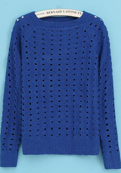 Casual Blue Plain Hollow-out Long Sleeve Sweater