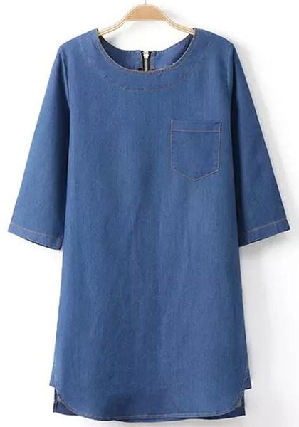 Casual Blue Plain Pockets Half Sleeve Dress