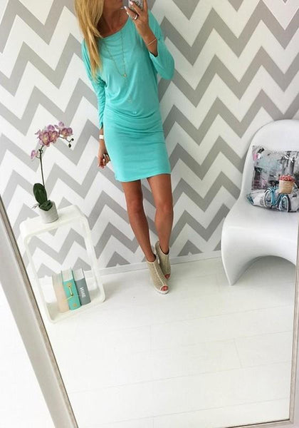 Casual Blue Plain Round Neck Long Sleeve Mini Dress
