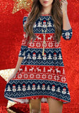 ByChicStyle Casual Blue-Red Cartoon Christmas Snowman Deer Print Draped 3/4 Sleeve Cute Mini Dress