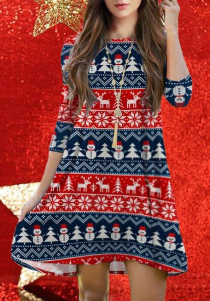 Casual Blue-Red Cartoon Christmas Snowman Deer Print Draped 3/4 Sleeve Cute Mini Dress