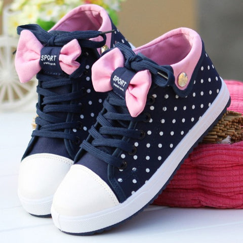 Casual Blue Round Toe Bow Polka Dot Print Cute Flat Shoes