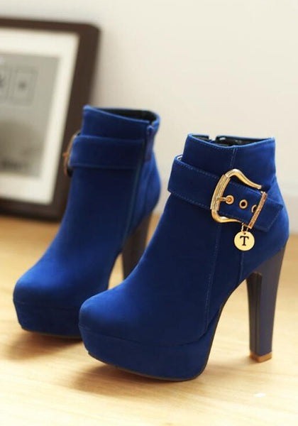 Casual Blue Round Toe Chunky Buckle Zipper Fashion Martin Boots