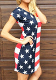 ByChicStyle Casual Blue Striped American Flag Print Round Neck Short Sleeve Mini Dress