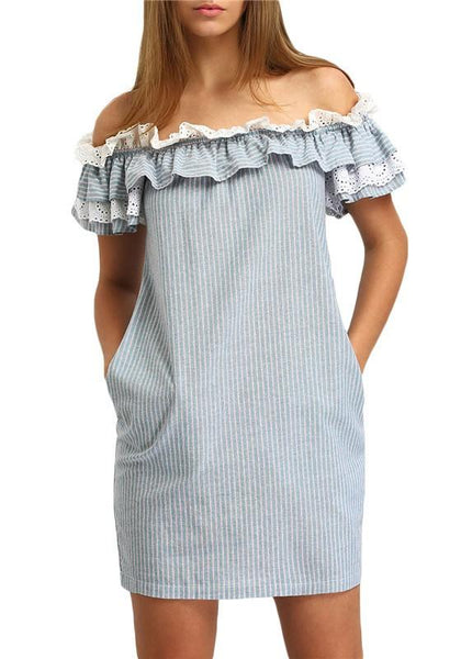 Blue Striped Bandeau Lace Ruffle Off Shoulder Backless Homecoming Party Cute Mini Dress