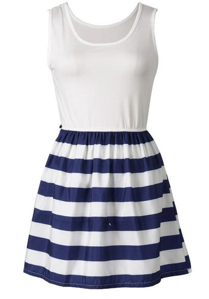 Casual Blue Striped Pleated Round Neck Casual Polyester Mini Dress