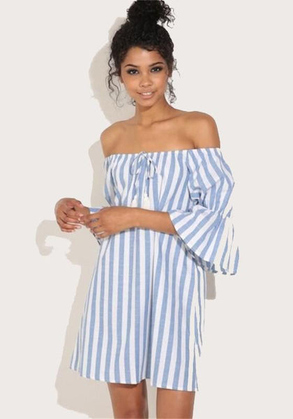 Casual Blue Striped Print Boat Neck Fashion Mini Dress