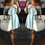 ByChicStyle Casual Blue Striped Print Off The Shoulder Pleated 2-in-1 Boat Neck Cute Mini Dress