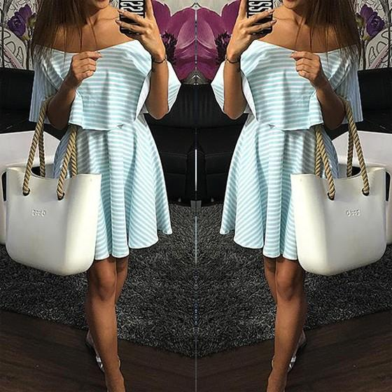 Casual Blue Striped Print Off The Shoulder Pleated 2-in-1 Boat Neck Cute Mini Dress
