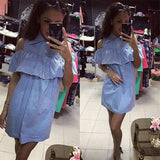 ByChicStyle Casual Blue Striped Ruffle Buttons Turndown Collar Short Sleeve Mini Dress