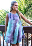 ByChicStyle Casual Blue Striped Tie Dye Gradient Print Round Neck Cotton Loose Mini Trapeze Dress