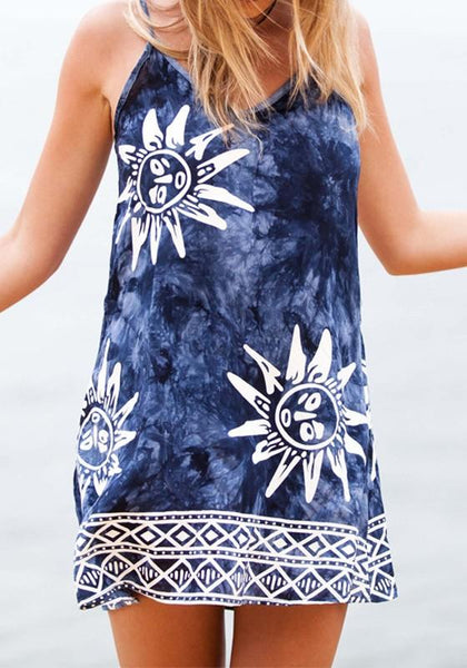 Casual Blue Sun Print Condole Belt V-neck Mini Dress