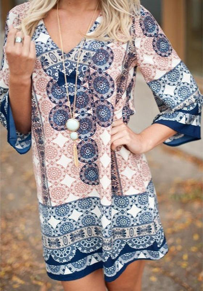 Casual Blue Tribal Floral Print V-neck 3/4 Sleeve Oversize Boho Mini Dress