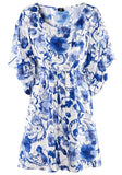 ByChicStyle Casual Blue-White Floral Print Dolman Sleeve Dress